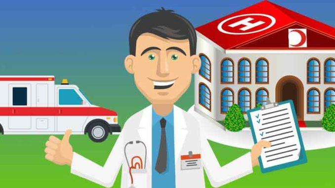 Sairaala, ambulanssi ja lääkäri